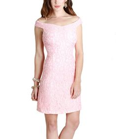 Another great find on #zulily! Peach Lace A-Line Dress by NIKIBIKI #zulilyfinds