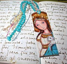 Saint Agnes   Laminated Bookmark  Handmade  Original by FlorLarios