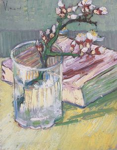 Blossoming Almond Branch in a Glass with a Book, 1888.  Vincent van Gogh