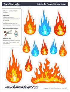 Printable Flame Stickers,  free for personal arts and crafts projects. For high resolution JPEG (1200x 927) please visit: http://timvandevall.com/shape-templates/flame-templates/