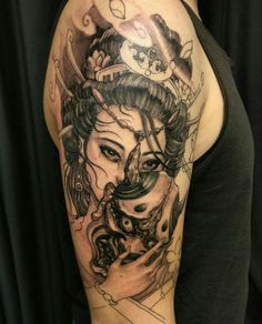 Geisha and hannya in progress. Geisha Tattoos, Geisha Tattoo Sleeve, Geisha Tattoo Design, Irezumi Tattoos, Japanese Tattoo Art, Japanese Tattoo Designs, Japanese Sleeve Tattoos, Rose Tattoos, Flower Tattoos