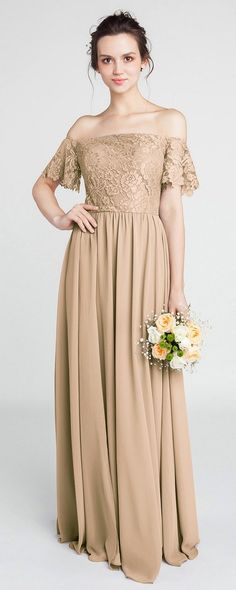 Gorgeous Lace Off-the-Shoulder Bridesmaid Gown with Chiffon Skirt #bridesmaiddresses #wedding