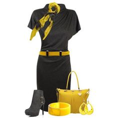 Trendy collection of yellow + black, autumn fashion - Relaxwoman Classy Work Outfits, Chic Outfits, Fashion Outfits, Outfits 2014, Dresses 2013, Workwear Fashion, Grey Fashion, Fashion Rocks, Fashion Beauty