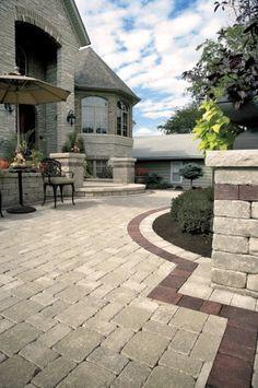 unilock brussels block entrance with il campo accents - Unilock Patio Designs