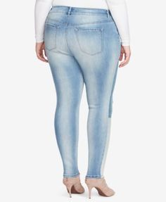Jessica Simpson Trendy Plus Size Kiss Me Patched Super-Skinny Jeans - Blue 24W