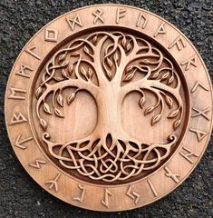 Yggdrasil - the mighty tree of life norse mythology odin vallhala woodcarving pagan heathen asartu celtic wall hanging vikings runes Yggdrasil der nordischen Mythologie der mächtigen Baum des Art Viking, Rune Viking, Viking Decor, Viking Symbols, Viking Woman, Norse Runes, Odin Norse Mythology, Norse Pagan, Wood Carving Patterns