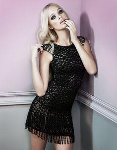 Short leopard lace dress with fringe and lace shoulder pads