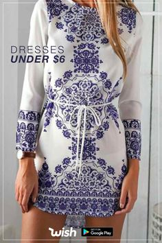 Shop Blue Chemise Long Sleeve With Belt Vintage Print Dress online. SheIn offers Blue Chemise Long Sleeve With Belt Vintage Print Dress & more to fit your fashionable needs. Cute Dresses, Casual Dresses, Cute Outfits, Dresses With Sleeves, Mini Dresses, Sleeve Dresses, Dresses Dresses, Summer Dresses, Beach Outfits