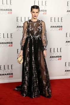 Isabeli Fontana in a black floral detail dress at the 2015 Elle Style Awards