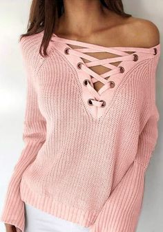Put some flair to your fall wear with this pink lace-up bell sleeves sweater.