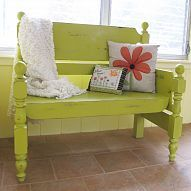 Turn that unwanted twin bed into a useful bench! I absolutely love this idea. Your children are growing up and it may be hard for you to throw their old bed. Rather than stowing it away in an attic, because you just can't part with it, re-purpose it into a fabulous bench! This can be done with any size bed