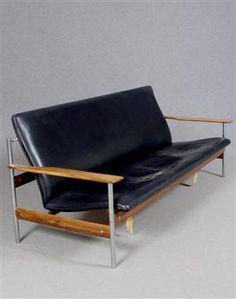 Sven Ivar Dysthe, Chromed Steel, Teak and Leather Sofa for Dokka, 1959.