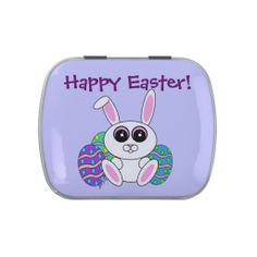 Easter candy in an Easter Bunny candy case! Original illustration by Gina Tom, copyright 2014. Available for sale at www.zazzle.com/gingerbreadpunks
