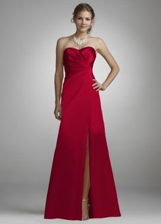 Bridesmaid Strapless Long Charmeuse Dress with Slit Style F44447, Bridesmaid & Bridal Party Dresses $99.99 #bestseller