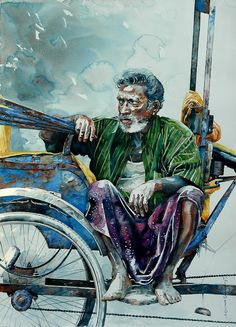 "Indian Watercolor Artist- ""Rajkumar Sthabathy"" 1975 - Fine Art and You - Painting Scenery Paintings, Indian Art Paintings, Amazing Paintings, Realistic Paintings, Human Painting, Figure Painting, Watercolor Portraits, Watercolor Paintings, Watercolours"
