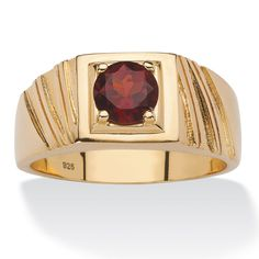 Palm Beach Jewelry PalmBeach 14k Gold over Sterling Silver Men's 1 2/5ct Round Red Garnet Ring
