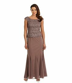 Patra Metallic Lace Bodice Et Skirt Dress Dillards