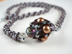 Gray & Brown beaded necklace Gray beaded choker Pearl by GalaFitz