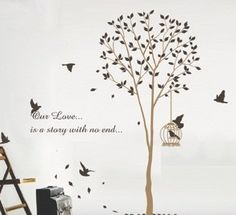 """X Large Contemporary Tall Tree Leaves Falling Birds Flying Approx 70"""" Inches or 6 Feet Wall Sticker Decal by WallStickersUSA, http://www.amazon.com/dp/B007AYNPRE/ref=cm_sw_r_pi_dp_WxZZqb0Z94D2P"""