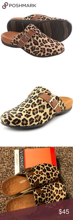 NEW w/out box Leopard VIONIC Shoes Brand new Vionic with Orthaheel Technology shoes ***perfect for anyone with foot or heel pain! Vionic Shoes Mules & Clogs