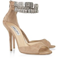 Jimmy Choo Vivid crystal-embellished suede sandals ($625) ❤ liked on Polyvore