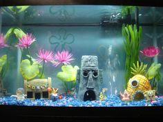 Spongebob aquarium.....I want to do this to his tank to piss off my bf hahahahaha