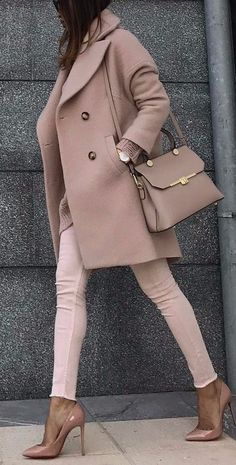 #fall #outfits women's brown peacoat and brown jeans with brown leather sling bag