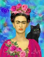 Here an artist has used a different background and designed new floral style tunic for the larger original image. Can you cut out a Frida face and do the same!  Maybe you can add a parrot or monkey instead of a cat.