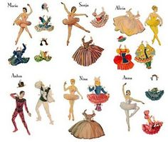 Vintage ballet dancer paper dolls - free printable