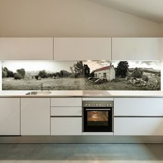 Splashback examples — Printed 'images on glass' kitchen splashbacks and glass wall art by Lucy G Black Kitchen Decor, Neutral Kitchen, Minimal Kitchen, Antique Mirror Splashback, Antique Mirror Glass, Aluminium Kitchen, Glass And Aluminium, Kitchen Tops, Glass Kitchen