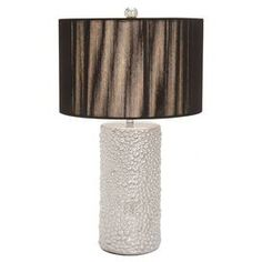 """Ceramic table lamp in silver.  Product: Table lampConstruction Material: Ceramic and fabricColor: Black and silverAccommodates: (1) Bulb - not includedDimensions: 26"""" H x 15"""" Diameter"""