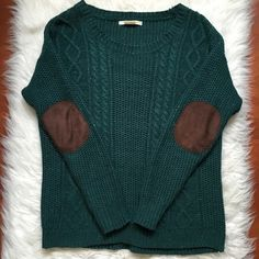 Coincidence + Chance Elbow Patch Sweater Speckled dark green cable knit sweater with brown elbow patches. Urban Outfitters Sweaters