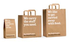 Creating clever taglines will make the consumer proud to carry your bag around. Win-win marketing solution!