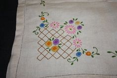 Embroidered Linen Tablecloth by SweetPotatoPunch on Etsy