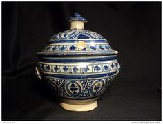 Pot Couvert Soupière Bleue Faïence Marocaine Début XXème Céramique Maroc Safi Morocco Pottery Jobbana