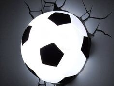 The Soccer Ball Night Light is planned to look unique when it's open and when it's close. The Soccer Night Light is the dimension of an actual Soccer Room Decor, Soccer Bedroom, Football Bedroom, Basketball Bedding, Sports Decor, 3d Deco Light, 3d Light, Lampe Ballon, Football Rooms