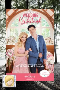 "Laurel (Kellie Pickler) and Clay (Wes Brown) return to Graceland to plan their wedding! Don't miss the ""Wedding in Graceland,"" filmed on-location at Elvis Presley's celebrated Memphis home. It all starts June 1 only on Hallmark Channel. The Heart o Hallmark Channel, Películas Hallmark, Films Hallmark, Hallmark Holidays, Priscilla Presley, Elvis Presley, Family Christmas Movies, Hallmark Christmas Movies, Holiday Movie"