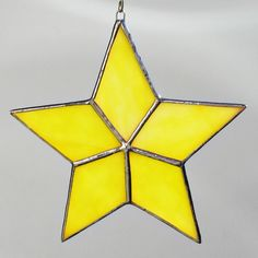 Yellow Star Stained Glass Ornament
