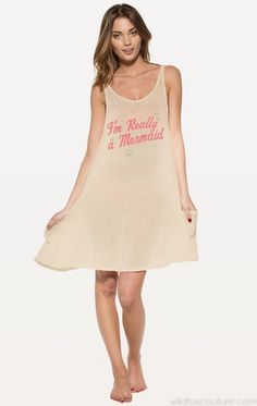REALLY A MERMAID SANTORINI SWING DRESS  I swim with the dolphins and wear seashells in my hair. I'm really a mermaid.