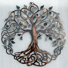 Shades of Grey Tree of Life Infinity Tree Metal Wall Art                                                                                                                                                     More