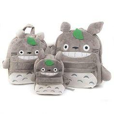 Fadfay Mon voisin Totoro sac à dos Manga anime japonais Grand Sac école étudiant Cartable Sac à Dos pour Enfant, gris, Big