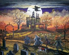 Spooky Lane by Ron Byrum ~ Folk Art Halloween Witch Haunted House Children Trick-or-treaters