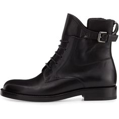 Lanvin Leather Buckle-Strap Combat Bootie ($1,185) ❤ liked on Polyvore featuring shoes, boots, ankle booties, ankle boots, lace up boots, black ankle boots, lace up combat boots, lace up ankle boots and lace up bootie