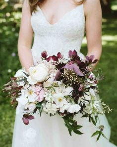 A Scenic, Nature-Inspired Wedding in Oregon | Martha Stewart Weddings - The couple worked together with their florist, Natalie Bowen Designs and took advantage of the amazing flowers that grow locally in Oregon. The result—a rustic, elegant bouquet of peonies, roses, astrantia, hellebores, creeping Jenny, Sally Holmes roses, martagon lilies, passion vine, and black lace elderberry.