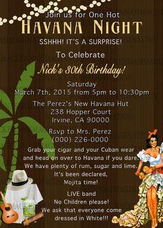 Havana Nights Birthday Invite DIGITAL