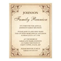shop tree with heart ornate frame family reunion invite created by thestationeryshop