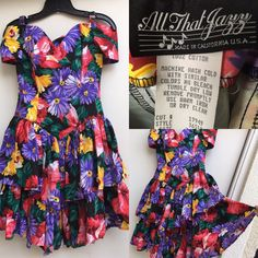 VTG All That Jazz Dress Floral Ruffles Off Shoulder VTG 5/6 1980s Made In Ca US…  | eBay