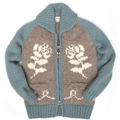The female model is and wearing a small size. Cowichan Sweater, Autumn Rose, Country Blue, Outerwear Jackets, Female Models, Hand Knitting, Fall Winter, Pure Products, Sweaters