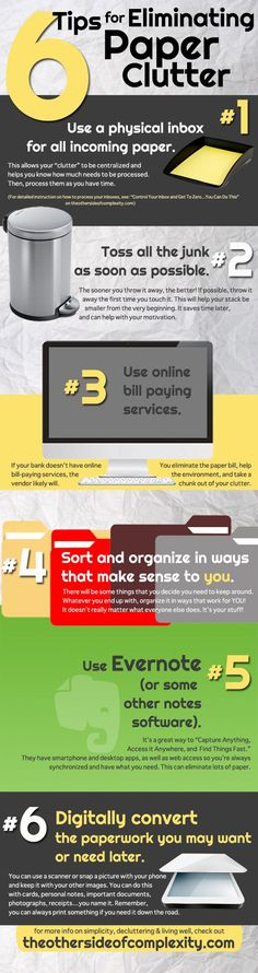 Paper Clutter Infographic - 6 Tips for Eliminating Paper Clutter