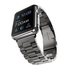 Stainless Steel Strap w/ Adapter Classic Buckle Watch Bands for Apple Watch /Sport. These band connectors are suitable for Apple Watch Sport/Edition. 1 x Watch Band with connection adapter (Watch is not included). Apple Watch Men, Apple Watch 42mm, Apple Watch Bands, Apple Band, Stainless Steel Watch, Stainless Steel Bracelet, Apple Watch Accessories, Wearable Technology, Link Bracelets